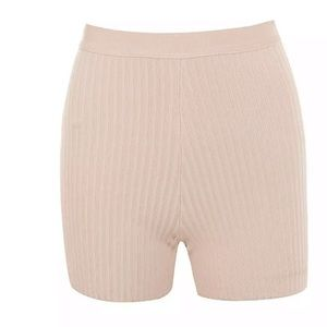 Ribbed knit high waist shorts with zipper